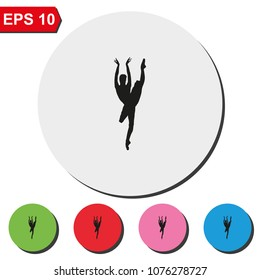 Ballerina in ballet pose silhouette flat round colorful vector icon.