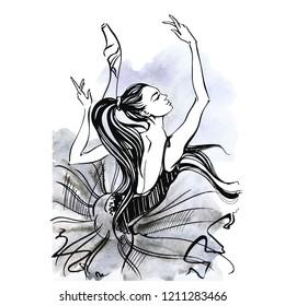 Ballerina. Ballet. Young dancer. Graphics. Vector.