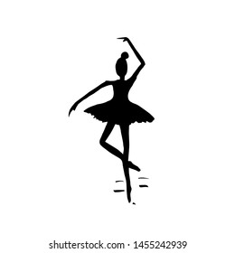 Ballerina black silhouette on white background. Ballet girl. Dancer illustration