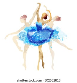 Ballerina in blue vector watercolor