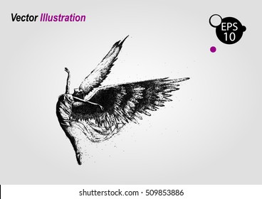 Ballerina in dance. Flyer, invitation, poster or greeting card design template with ballerina. Silhouette of a jumping girl from particles. Fashionable print for t-shirts or sweatshirts. Angel wings.