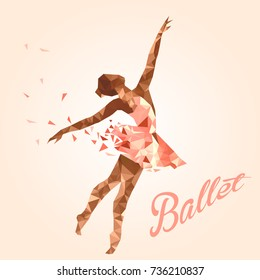 Ballerina in dance. Low poly triangulate modern style. Vector poster perfect for ballet school or studio, dance studio, performance.