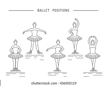 Ballerina in a dance position. Ballerina dancer ballet. Dance positions for teaching ballet.