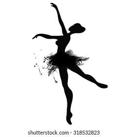 Ballerina in dance. watercolor black and white