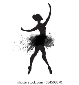 Ballerina in dance. watercolor black and white.vector