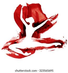 Ballerina in dance. watercolor in red