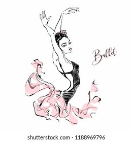 Ballerina. Dancer. Ballet. Carmen.  Graphics. Vector illustration.