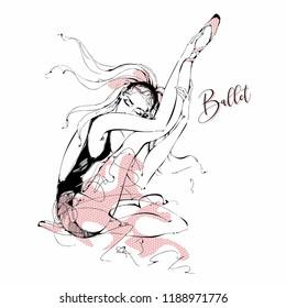 Ballerina. Dancer. Ballet.  Graphics. Vector illustration.