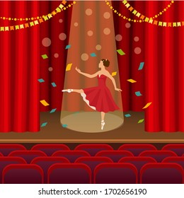 Ballerina dancing on the scene of the theater flat vector illustration. Ballet dancer on stage with lighting on the background of the wings. Young girl dancer in red dress in pointe shoes on podium.
