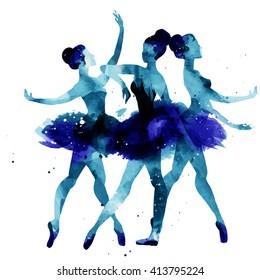 ballerina dancing. watercolor. vector