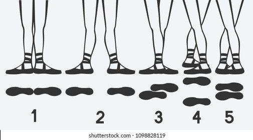ballerina feet in pointe shoes. five ballet positions. vector illustration - eps 8