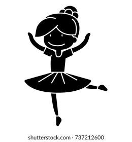ballerina girl, balet dancer  icon, vector illustration, sign on isolated background