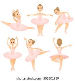 Ballerina girl concept set. Cartoon illustration of 6 ballerina girl vector concepts for web
