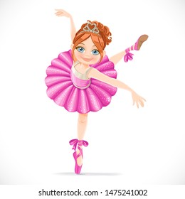 Ballerina girl in pink dress dancing on one leg isolated on a white background