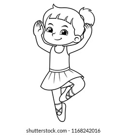 Ballerina Girl Practicing Ballet BW.