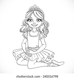 Ballerina girl in tutu and tiara sit on floor outlined