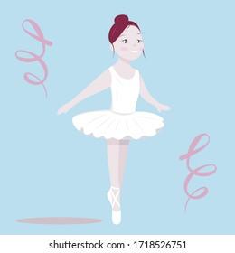 Ballerina Girl Vector Illustration Clip Art Cartoon Dancer Isolated Elements