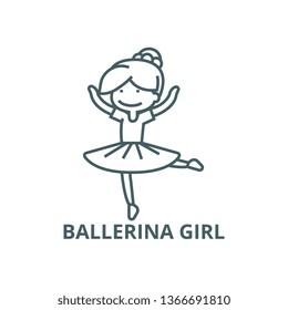 Ballerina girl,balet dancer line icon, vector. Ballerina girl,balet dancer outline sign, concept symbol, flat illustration