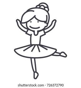ballerina girl,balet dancer vector line icon, sign, illustration on background, editable strokes