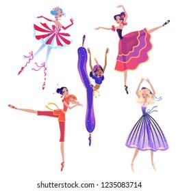 The ballerina girls. Beautiful vector illustration. Cute cartoon character from winter tale and ballet Nutcracker.