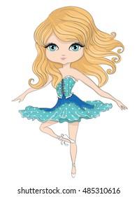 ballerina girl,T-shirt print,cartoon character