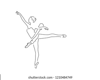 Ballerina isolated line drawing, vector illustration design. Music collection.