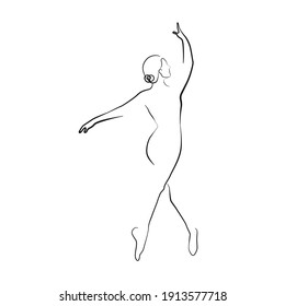 Ballerina Minimalist One Line Drawing. Woman Dance Contour Illustration. Ballet Modern Minimalist Drawing. Woman Ballerina One Line Illustration. Vector EPS 10