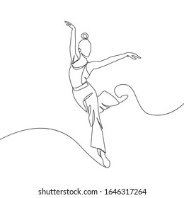 Ballerina One Line Illustration. Dance Contour Drawing. Modern Minimalist People Drawing. One Line Woman Dancer. Vector EPS 10.
