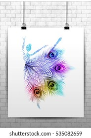 Ballerina with peacock feathers. Vector isolated colorful silhouette. Beautiful background