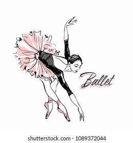 Ballerina in pink ballet tutu. Dancer in a beautiful pose. Ballet. Inscription. Vector illustration.