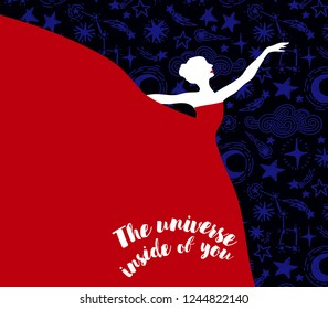 """Ballerina in red dress on starry background, """"The universe inside of you"""" poster, can be used as banner for ballet studio, vector illustration"""
