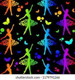 Ballerina seamless pattern with butterflies and circles rainbow colored on black background