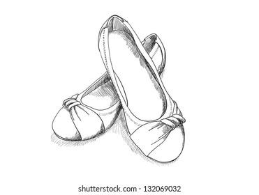 ballerina shoes on white in sketch style