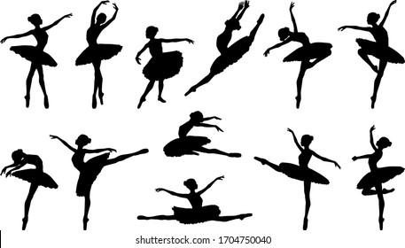 Ballerina silhouette ballet dance poses