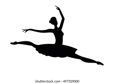 Ballerina silhouette isolated on white background. Vector female ballet dancer.