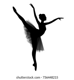 Ballerina silhouette isolated on white background. Vector illustration