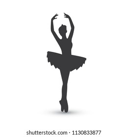 Ballerina silhouette on white background