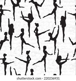 Ballerina silhouette on white background. Vector pattern.