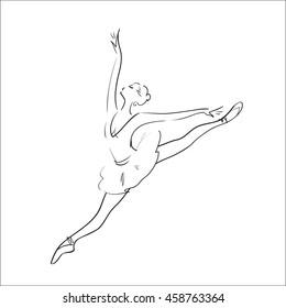 Ballerina silhouette on a white background. Vector illustration.