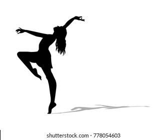 Ballerina silhouette on a white background, vector