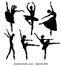 Ballerina silhouette set. Vector illustration on white background