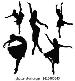 ballerina silhouettes, black silhouette on white background