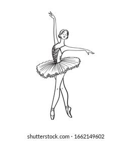 Ballerina in tutu and pointe shoes.Ballet dancer silhouette. Realistic ballerina, beautiful woman against white background. Ballet banner. Line Vector illustration.