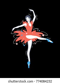 Ballerina vector illustration isolated on background. Modern hand drawn woman dancing in red costume.