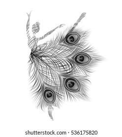 Ballerina. Vector isolated abstract black and white silhouette with peacock feathers.
