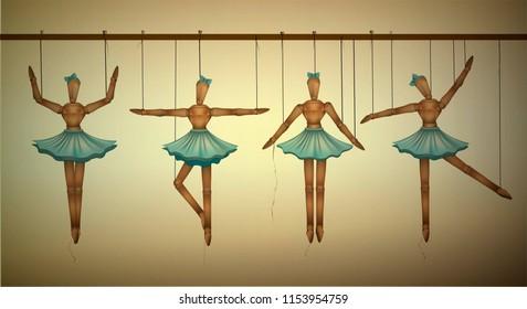 ballerinas concept, set of wooden marionette dancers in different poses, vector