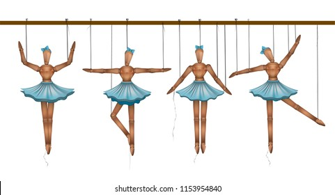 ballerinas concept, set of wooden marionette dancers in different poses, vector