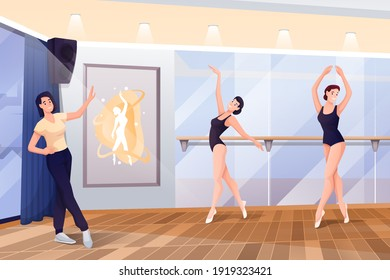 Ballerinas dancing with trainer in studio at class. Ballet school interior design vector illustration. Beautiful women in different poses at handrail during lesson. Horizontal panorama.