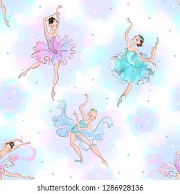Ballerinas. Seamless pattern. Little princess.  Dance. Vector illustration