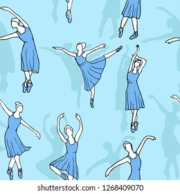 Ballerinas silhouette in skyblue dress. Seamless pattern with dancing ballerinas on blue background.